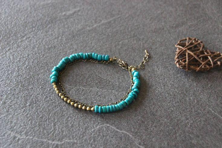 Bracelet de cheville ethnique boho bohème,  blue anklet, multirangs, perles de coco turquoise, chainette métal bronze de la boutique PerlicotiPerlicoton sur Etsy