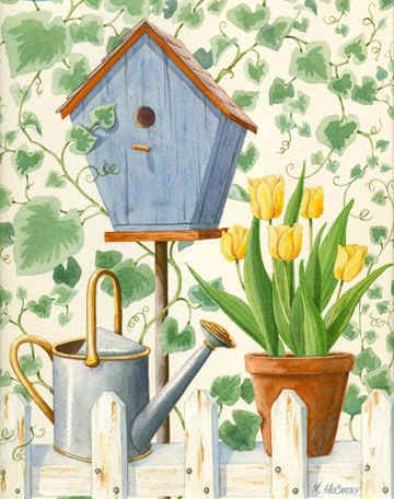 Blue Birdhouse & Tulips by Maureen McCarthy