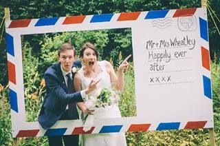 Rather than the expense of a photo booth we created a postcard photo frame from mdf