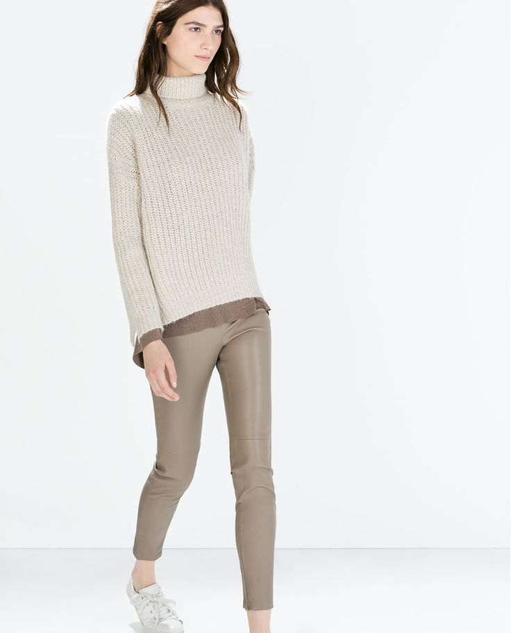 Image 2 of FAUX LEATHER LEGGINGS WITH SEAM AT THE KNEE from Zara