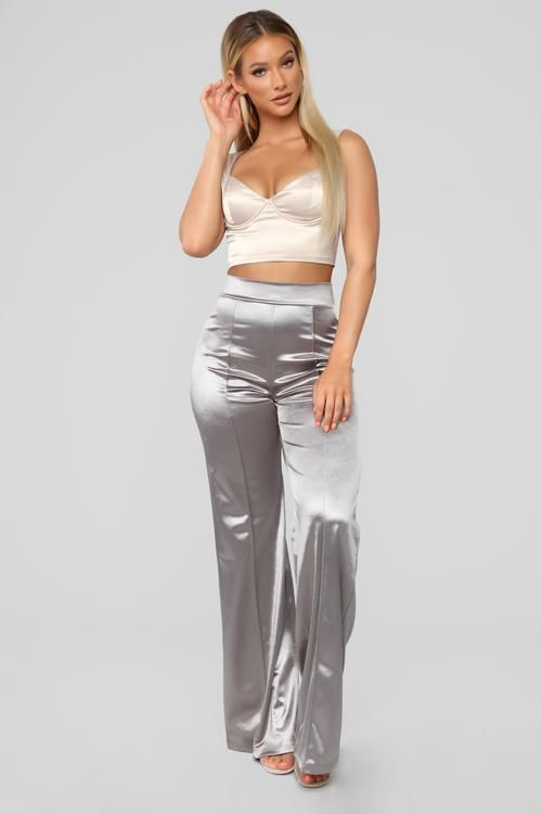 0f16bb2f497 Make A Wish Stretch Satin Pants - Taupe in 2019