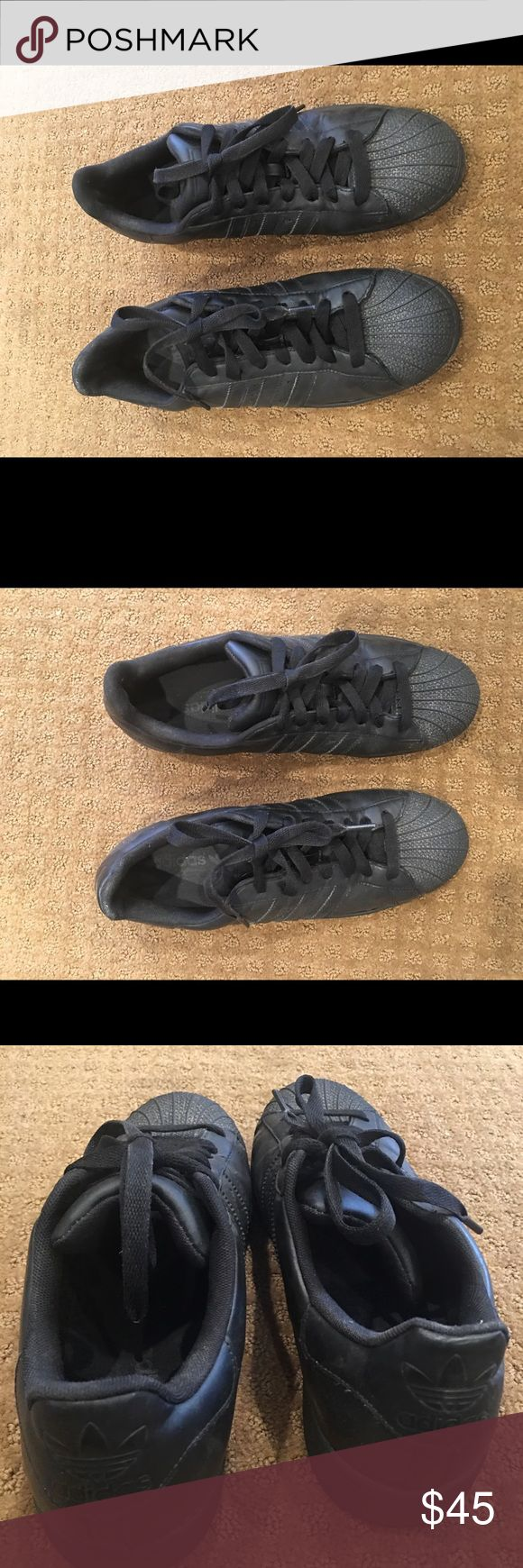 Men's all black adidas superstar size 10 Men's all black adidas superstar size 10. Light wear, overall good condition, well taken care of. Please feel free to ask questions or make an offer. adidas Shoes Sneakers