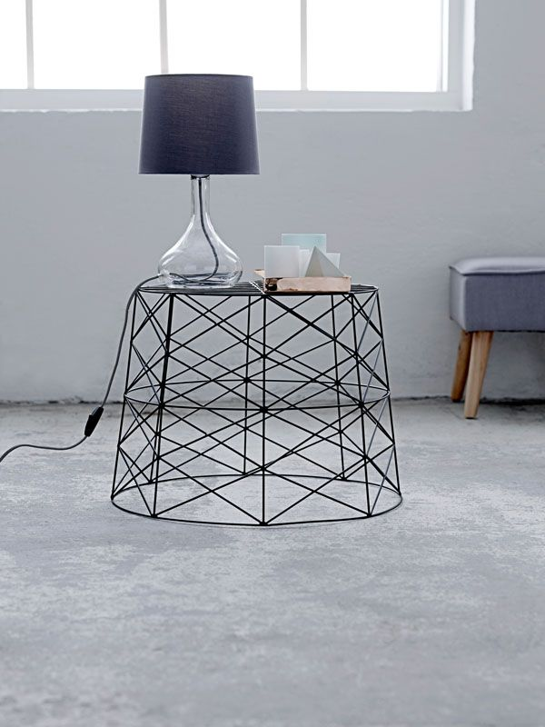 metal basket as table everything from bloomingville www. Black Bedroom Furniture Sets. Home Design Ideas