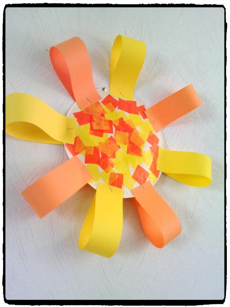bricolage soleil, assiette en carton, été, activité enfant