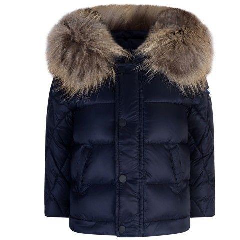 Fendi Baby Boys Navy Down Padded Coat With Fur Trim 33rd