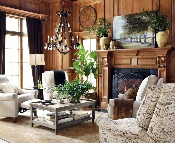 Wood paneled living room