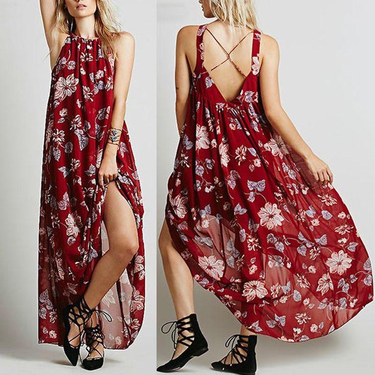 Платье богемный лето, стиль свободного покроя пляж длинная туника цветочный цыганский хиппи Boho Chic бретелька макси длинная вино цвет Clothigкупить в магазине CRESIDAнаAliExpress