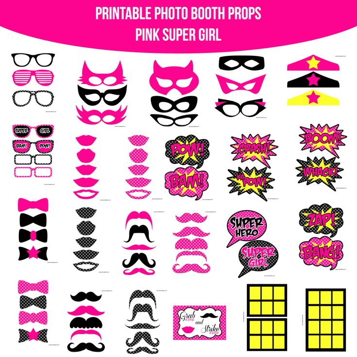 Instant Download Super Girl Pink Printable Photo Booth Prop Set