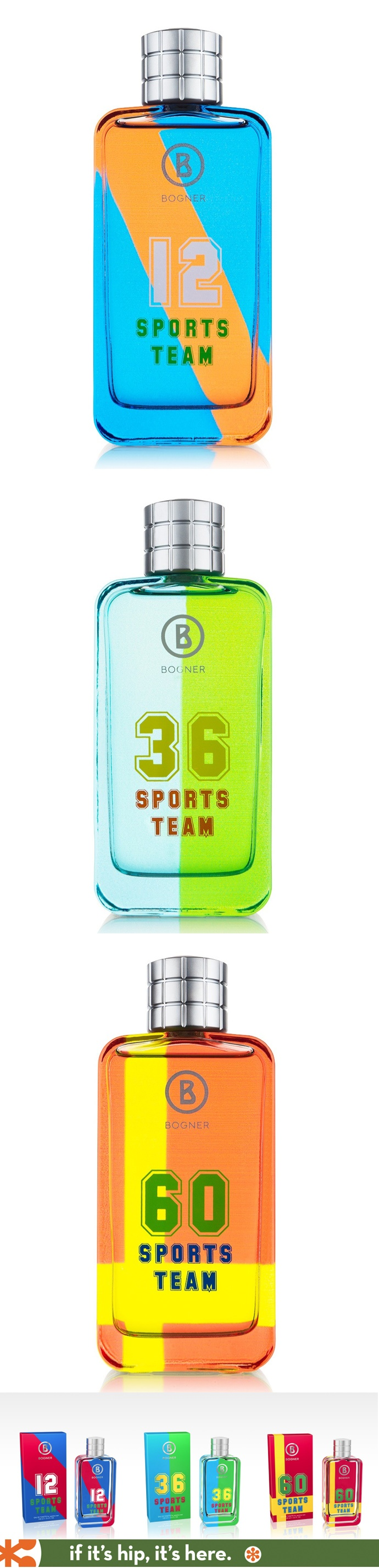 Love the bottles, hate the name. Bogner's Sports Team fragrances. #perfume_bottle #fragrance #design