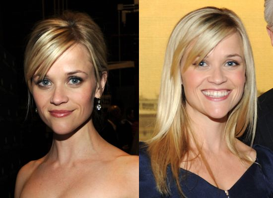 Sideswept bang. Love the color on the left.: Reese Witherspoon, Ree Witherspoon, Colors, Witherspoon Hairstyles, Sideswept Bangs, Long Haircuts, Swoop Bangs, Witherspoon Haircuts, Side Parts Bangs