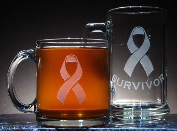 SURVIVOR Etched Glass Coffee or Tea Mug with by LoveHandyWork