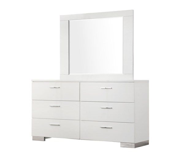 Coaster Furniture Felicity Glossy White Dresser And Mirror Coaster Furniture Dresser Design White Wood Dresser