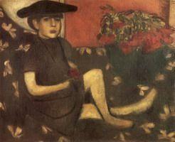 Jong meisje op de eerste werken van Divan Marc Chagall in Rusland