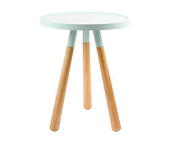 Table d'appoint ORBIT bois, vert menthe et naturel - Ø40