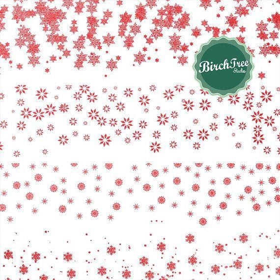 Snowflake Clipart Red Borders Red Confetti Clipart Etsy Snowflake Clipart Christmas Scrapbook Clip Art