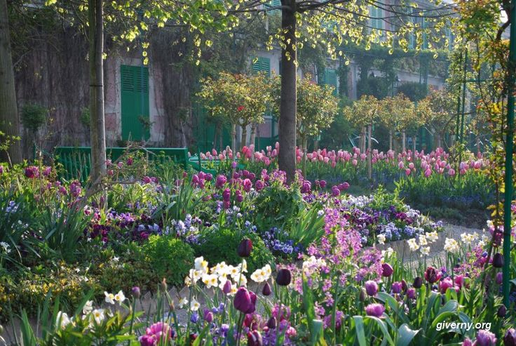 Impressionist Painter Claude Monet's Home Garden in Spring. Giverny, France. Where life imitates painting, and painting, life.
