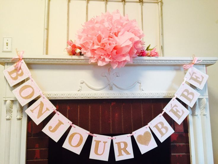 Bonjour Bebe Banner- Parisian Baby shower Decor - French Baby shower Decor - Gold & Pink Baby shower Garland - Your color choice by anyoccasionbanners on Etsy https://www.etsy.com/listing/254837958/bonjour-bebe-banner-parisian-baby-shower