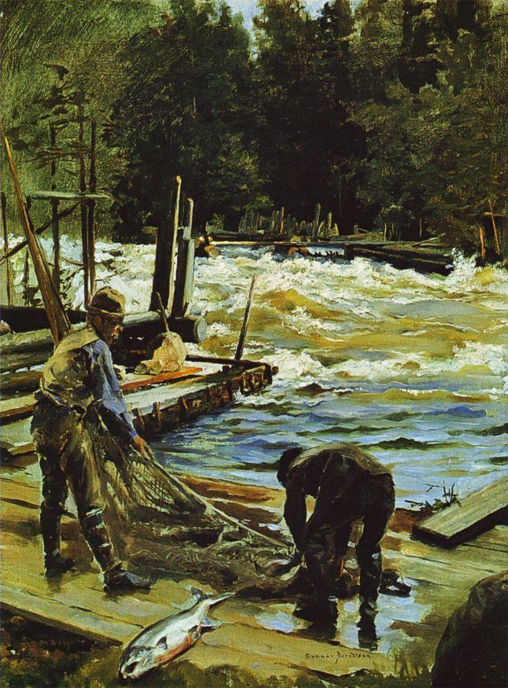 Gunnar Berndtson -      Lohenpyynti, Langinkoski,1892