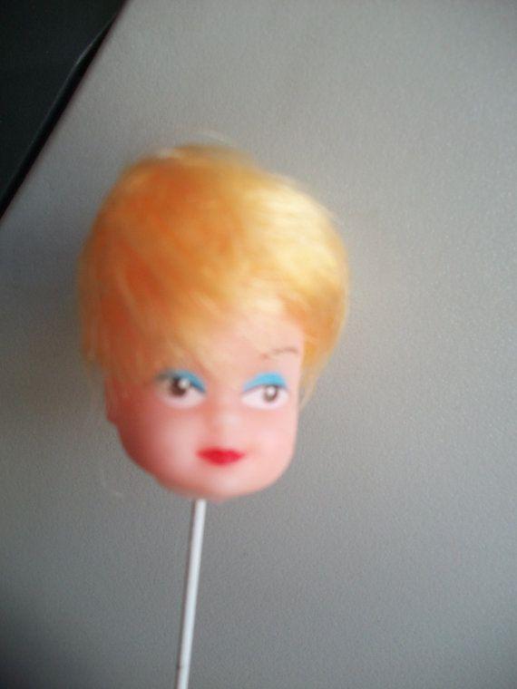 Vintage Plastic Vinyl Doll Head On A Stick Vinyl Dolls Doll Head Dolls