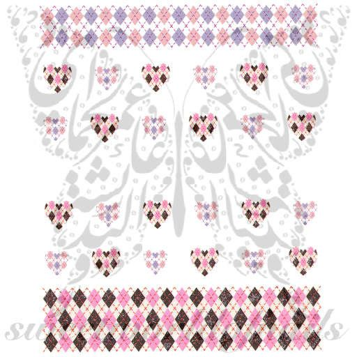 Argyle Pattern Nail Art Pink And Purple Argyle Pattern Water Slide Nail Decals