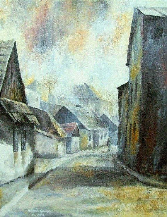 ARCHITECTURE Painting, Old Alley I - Fine Art GICLEE PRINT after an original painting by Milena Gawlik
