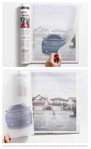 Smooth application of translucent paper, makes a solid point on road safety. I see lots of potential applications on other messages.     Advertising Agency: Dare, USA  Creative Directors: Rob Sweetman, Bryan Collins  Art Directors: Addie Gillespie, Mia Thomsett  Copywriters: Addie Gillespie, Mia Thomsett  Photographer: Clinton Hussey  Videographer: Clinton Hussey  Account Services: Suzanne Carrier / Elvis Communications  Print Production: We The Collective Design  Producer: Jeremy Burrows