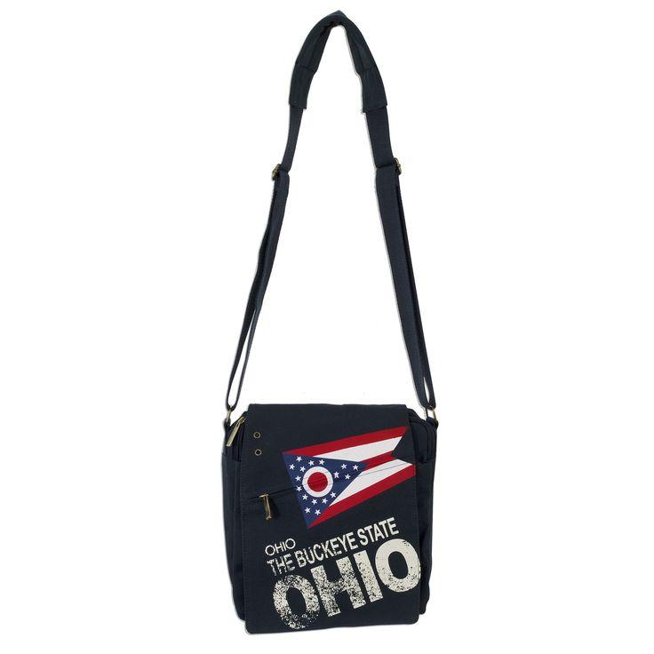 TBOH03 Robin Ruth Messenger Bag MEDIUM / Ohio Flag - The Buckeye State DENIM