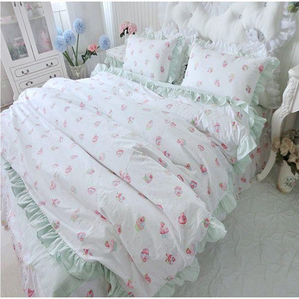 Mlmx bambù estate cotone traspirante assorbimento dell'umidità biancheria da letto principessa set biancheria da letto di nozze stampato copripiumino bedskirt
