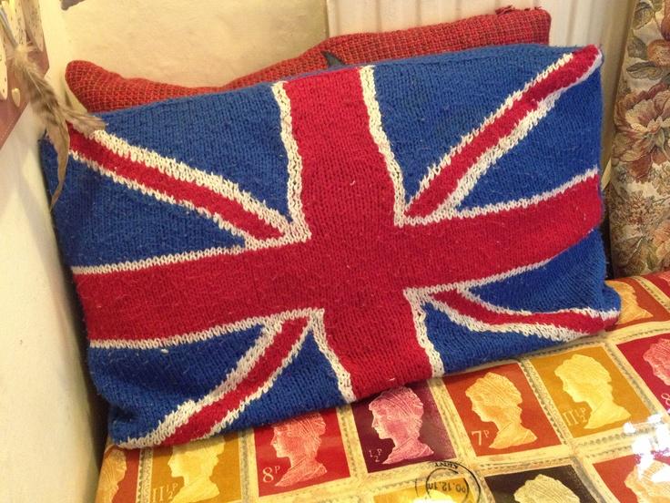 Hand knitted Union Jack cushion