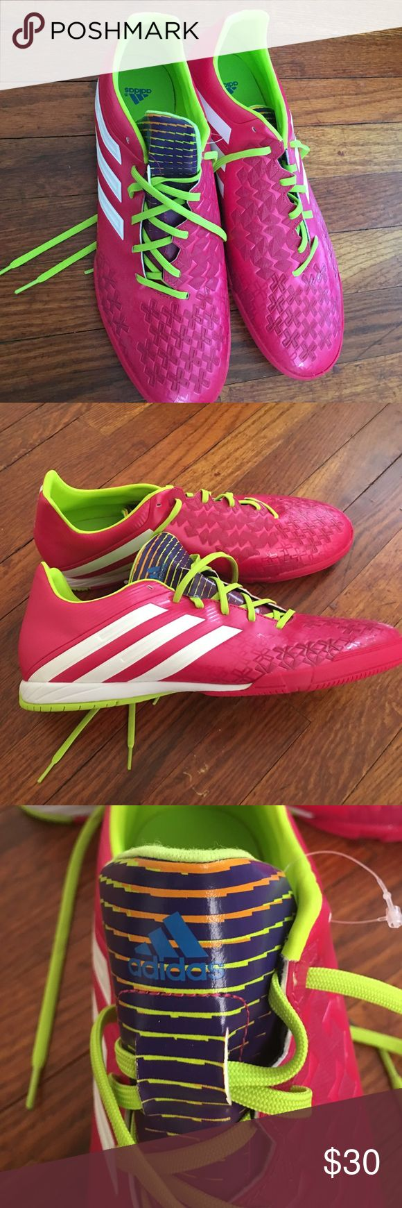 Adidas indoor soccer shoes size 13 NWOT Adidas turf shoes.  Hot pink and white.  Size 13 men's.    Add some flash to your game. adidas Shoes Athletic Shoes