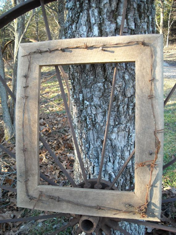 Barbed wire picture frame