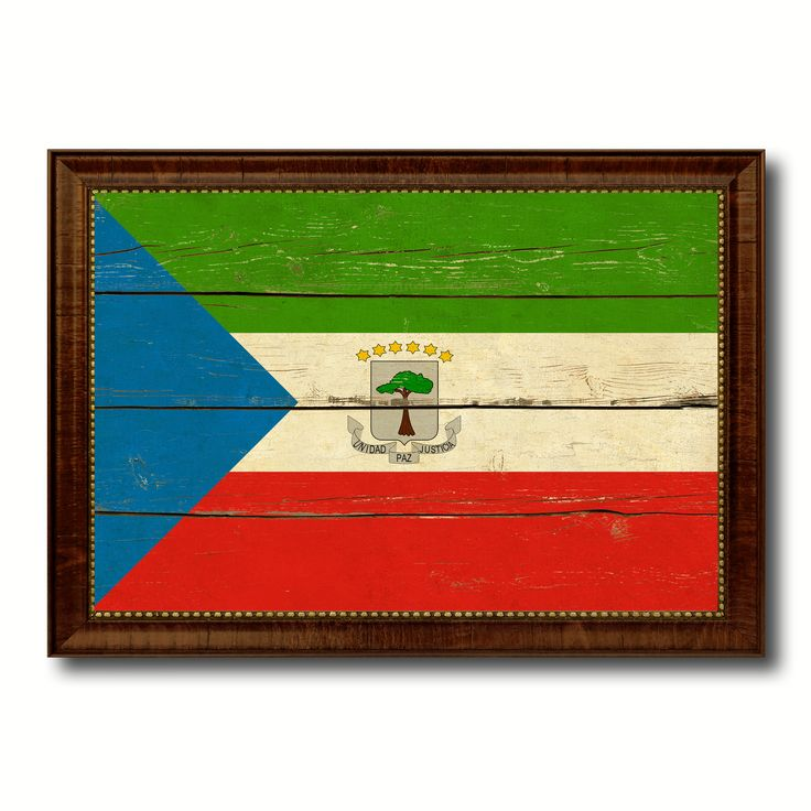 Equatorial Guinea Country Flag Vintage Canvas Print with Brown Picture Frame Home Decor Gifts Wall Art Decoration Artwork