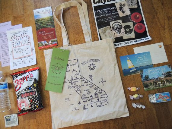 Hello Sunshine California Tote Bag by Harken Press ~ perfect for wedding welcome bags or favors