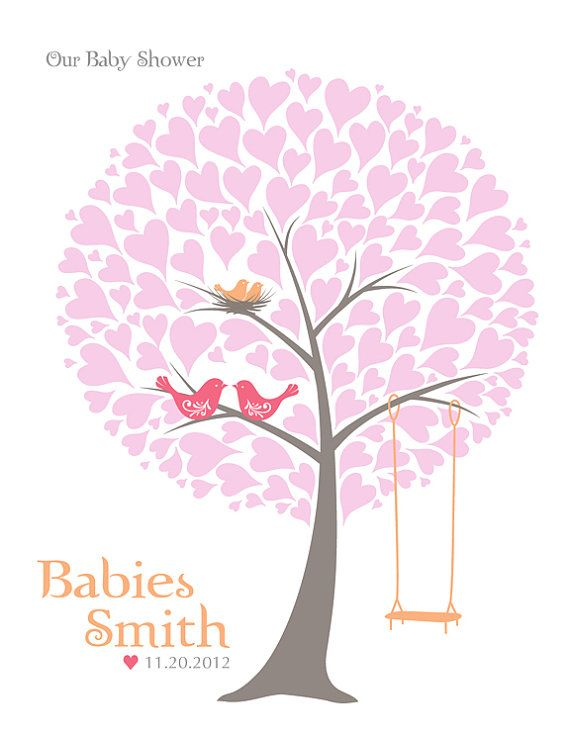 BABY SHOWER TREE GUEST SIGNATURE POSTER ♥ Guest Book Alternative, Family  Tree, Nursery
