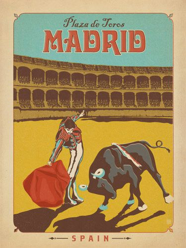 Spain: Madrid - Our latest series of classic travel poster art is called the World Travel Poster Collection. We were inspired by vintage travel prints from the Golden Age of Poster Design (a glorious period spanning the late-1800s to the mid-1900s.) So we set out to create a collection of brand new international prints with a bold and adventurous feel.<br />