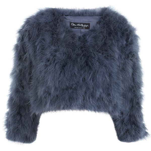 Miss Selfridge Grey Feather Bolero (£73) ❤ liked on Polyvore featuring outerwear, jackets, fur, sweaters, grey, fur jacket, feather jacket, feather bolero jacket, grey bolero and miss selfridge