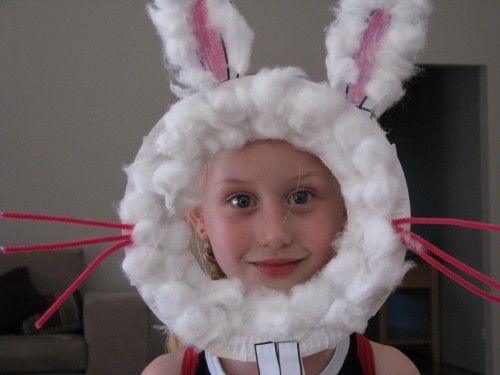 Bunny mask. Can also just use cotton balls for cheeks and pink pompom for nose (and not cover it with cotton balls).