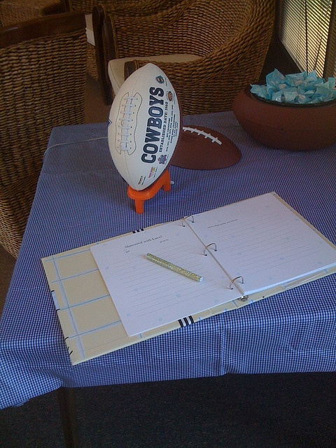 Dallas Cowboys themed coed baby shower...use football as sign in sheet