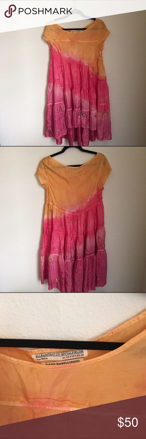 AllSaints Dress sz 4 Dip dye embellished AllSaints dress US size 4. In great condition! All Saints Dresses
