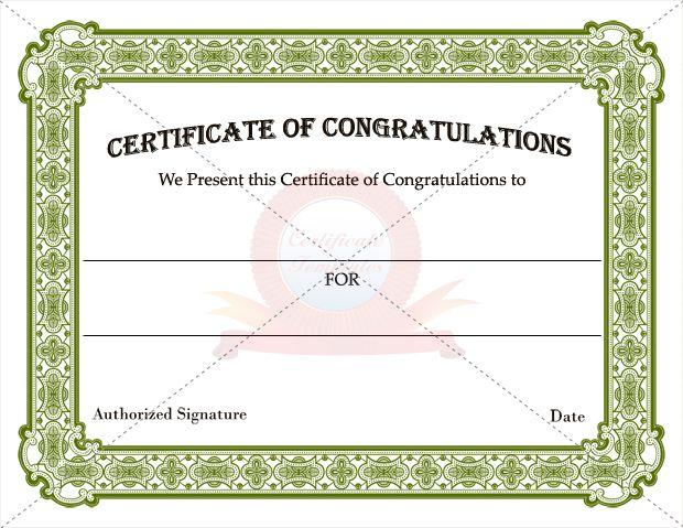 congratulations certificate templates