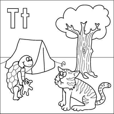 Letter T Coloring Page Tortoise Tiger Teddy Tent Tree