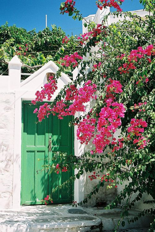 Green door in Amorgos , Greece