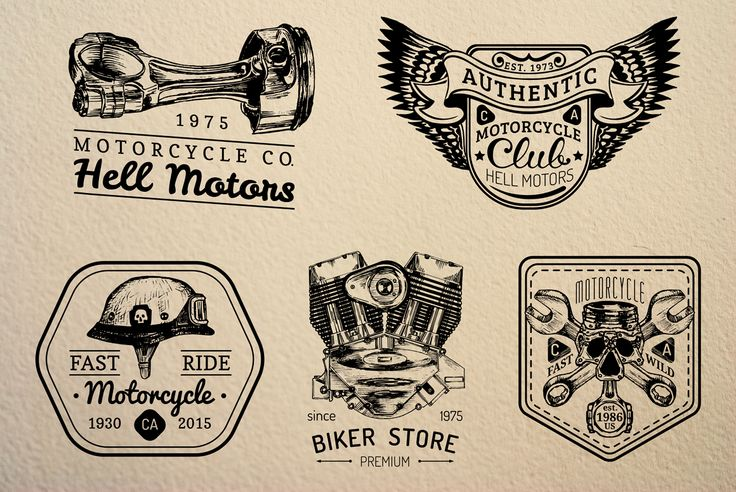 Vintage biker Logos & Badges by Chewie Co on Creative Market