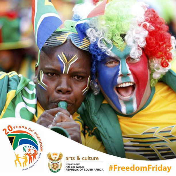 It's #FreedomFriday again! Come out and help us celebrate 20 years of #freedom in a democratic South Africa. Wear the colours of the flag, our national sporting colours or your traditional dress!