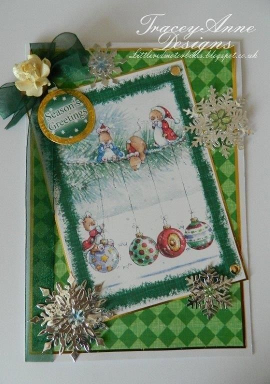 Tracey Anne - Makey Bakey Mice - made from Hunkydory Christmas paper kit, die'sire Christmas Snowflake die