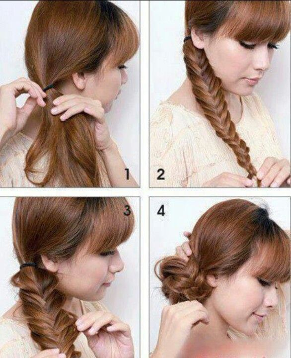 DIY hairstyle - fishtail bun