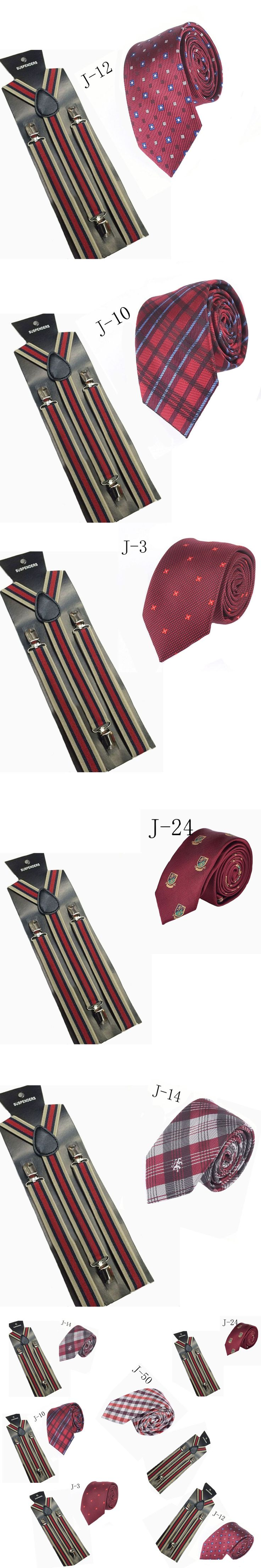 OL Men's Suits Elastic Striped Suspenders Men 3 Clip Suspenders Belt Strap Adjustable Braces Suspenders Tie Combination ZH007