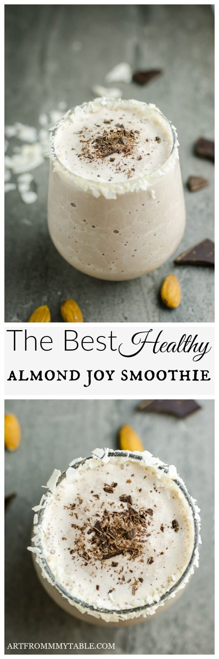 Dark chocolate, almonds and coconut with a punch of protein ~ this healthy almond milk smoothie is just what you need to satisfy your sweet craving and fuel your body. What could be better? Print The Best Almond Joy Smoothie Dark chocolate, almonds and c