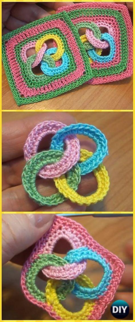 Crochet Interlocking Ring Granny Square Motif Free Pattern Video - Crochet Granny Square Free Patterns