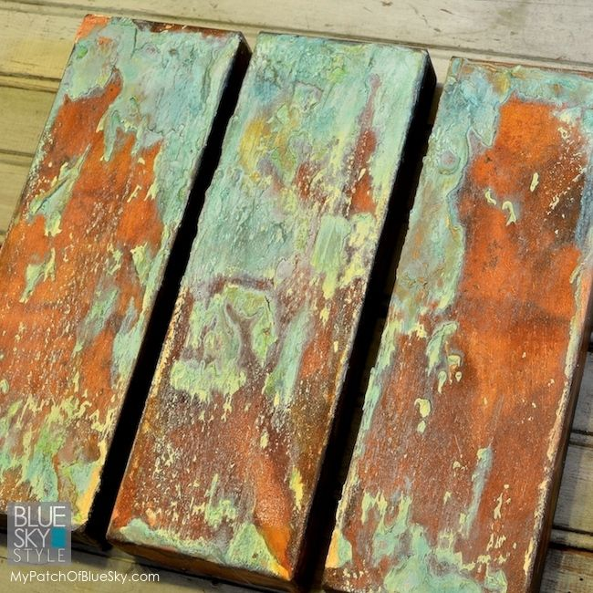 Wood Icing canvas art project using Modern Masters rust and patina
